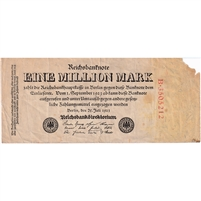 Germany Note 1923 1 Million Mark, VF (damaged)