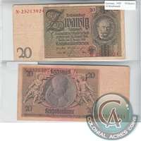 Germany Note 1929 20 Reichsmark, VF (Damaged)