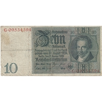 Germany Note 1929 10 Reichsmark, F (tears)