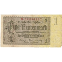 Germany Note 1937 1 Rentenmark 8 Digit, VF
