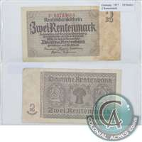 Germany Note 1937 2 Rentenmark, EF (Holes)