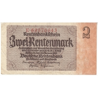 Germany Note 1937 2 Rentenmark 8 Digit, VF