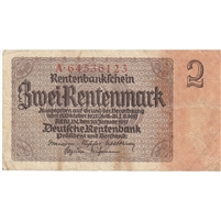 Germany Note 1937 2 Rentenmark 8 Digit, F-VF