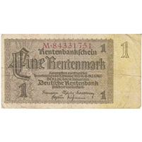 Germany Note 1937 1 Rentenmark 8 Digit, F