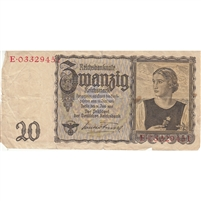 Germany Note 1939 20 Reichsmark, F-VF (damaged)