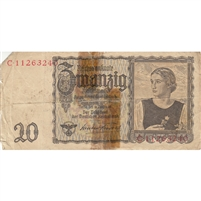 Germany Note 1939 20 Reichsmark, F (damaged)