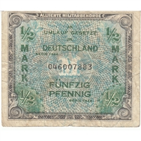 Germany Note 1944 1/2 Mark, With F, VF