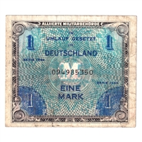 Germany Note 1944 1 Mark, with F, VF (Damaged)