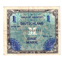 1944 Germany Paper Money 1 Mark, with F, EF