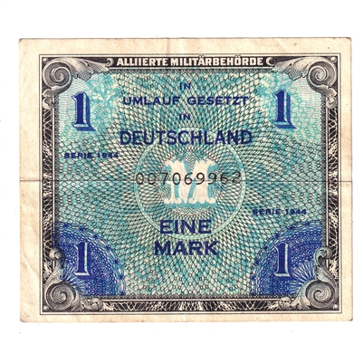 Germany Note 1944 1 Mark, with F, EF