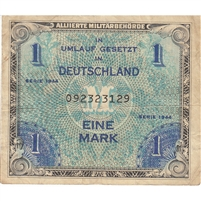 Germany Note 1944 1 Mark 9 Digit with F, VF