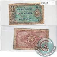 Germany Note 1944 10 Mark, without F, Fine