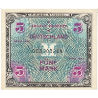 Germany Note 1944 5 Mark 9 Digit with F, EF-AU