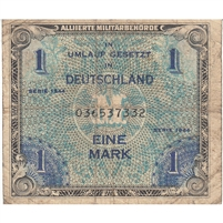 Germany Note 1944 1 Mark 9 Digit with F, VG