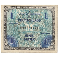 Germany Note 1944 1 Mark 9 Digit with F, AU