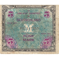 Germany Note 1944 5 Mark 9 Digit with F, VF (tear)