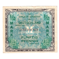 Germany Note 1944 1/2 Mark, with F, EF