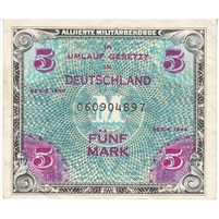 Germany Note 1944 5 Mark 9 Digit with F, AU