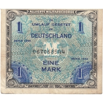 Germany Note 1944 1 Mark 9 Digit with F, VF-EF