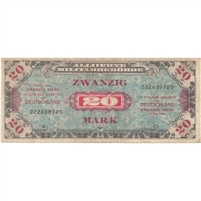 1944 Germany Paper Money 20 Mark, With F, VF-EF