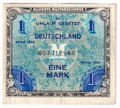 1944 Germany Paper Money 1 Mark, Without F, VF