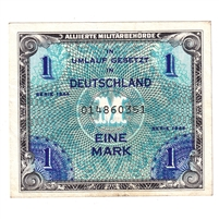 Germany Note 1944 1 Mark, With F, EF (Holes)