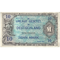 Germany Note 1944 10 Marks 9 Digit With F, EF
