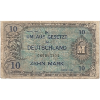 Germany Note 1944 10 Mark 9 Digit With F, F