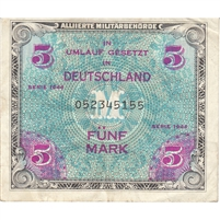 Germany Note 1944 5 Mark 9 Digit With F, EF
