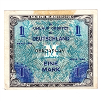 Germany Note 1944 1 Mark, With F, AU (Residue)