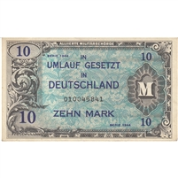 Germany Note 1944 10 Mark 9 Digit With F, AU