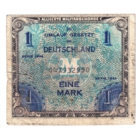 Germany Note 1944 1 Mark, With F, F (Soiled)