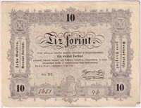 Hungary Note Pick #S117 1848 10 Forint VF-EF (L)
