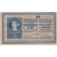 Hungary Note 1920 25 Korona, Above 3000, F