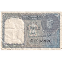India Note 1940 1 Rupee, VF