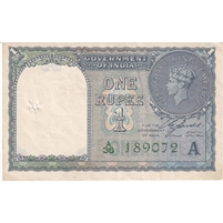 India Note 1940 1 Rupee, Green A, EF (hole)