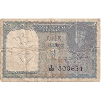 India Note 1940 1 Rupee, F (tear)