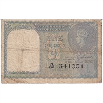 India Note 1940 1 Rupee, VG (damaged)