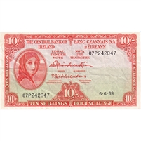 Ireland Note 1962-68 10 Shillings, VF