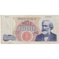 Italy Note 1965 1000 Lire, F (damaged)
