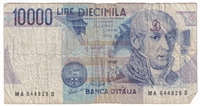 Italy Note 1984 10000 Lire, VG (Damaged)