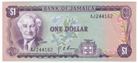Jamaica Note 1960 1 Dollar, AU (Holes)