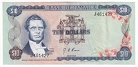 Jamaica Note 1960 10 Dollars, VF-EF