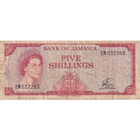 Jamaica Note 1964 5 Shillings, Signature 1 Gothic, VF
