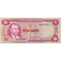 Jamaica Note 1970 50 Cents, UNC