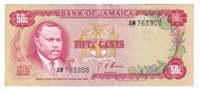 Jamaica Note 1970 50 Cents, EF-AU