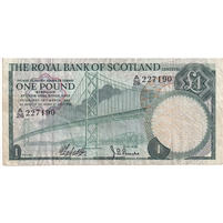 Scotland Note 1969 1 Pound, VF
