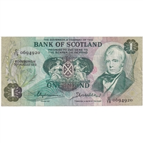 Bank of Scotland Note 1973 1 Pound, VF