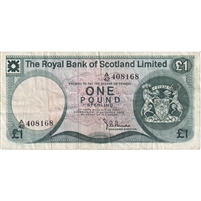 Scotland Note 1972 1 Pound, VF (holes)