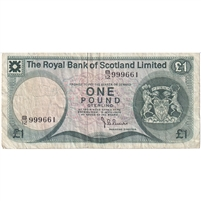 Scotland Note 1976 1 Pound, VF (holes)